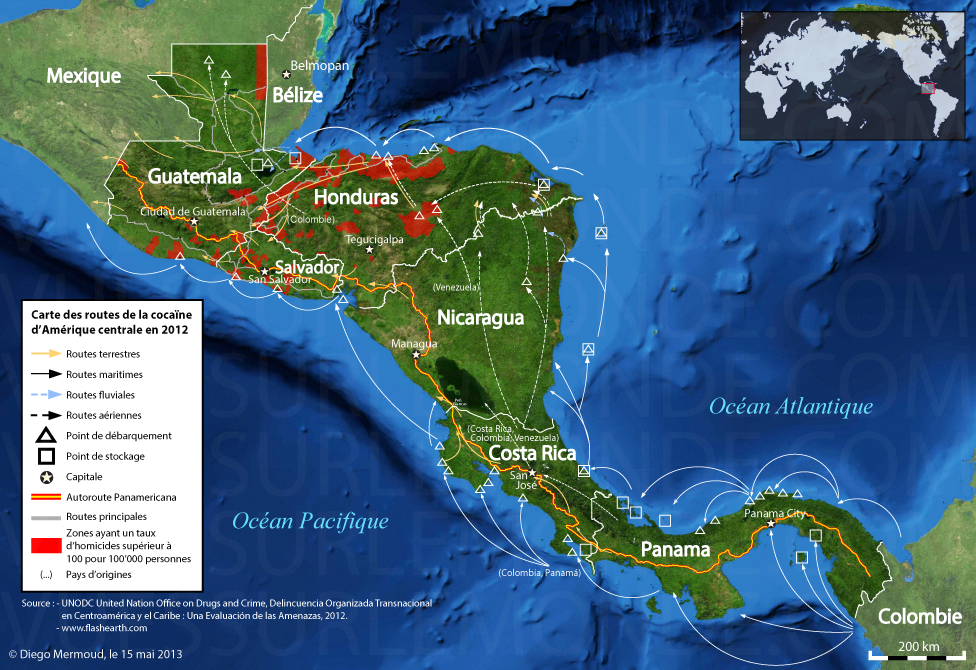 Map of Central American cocaine roads in 2012 [OS] [976x670 ...